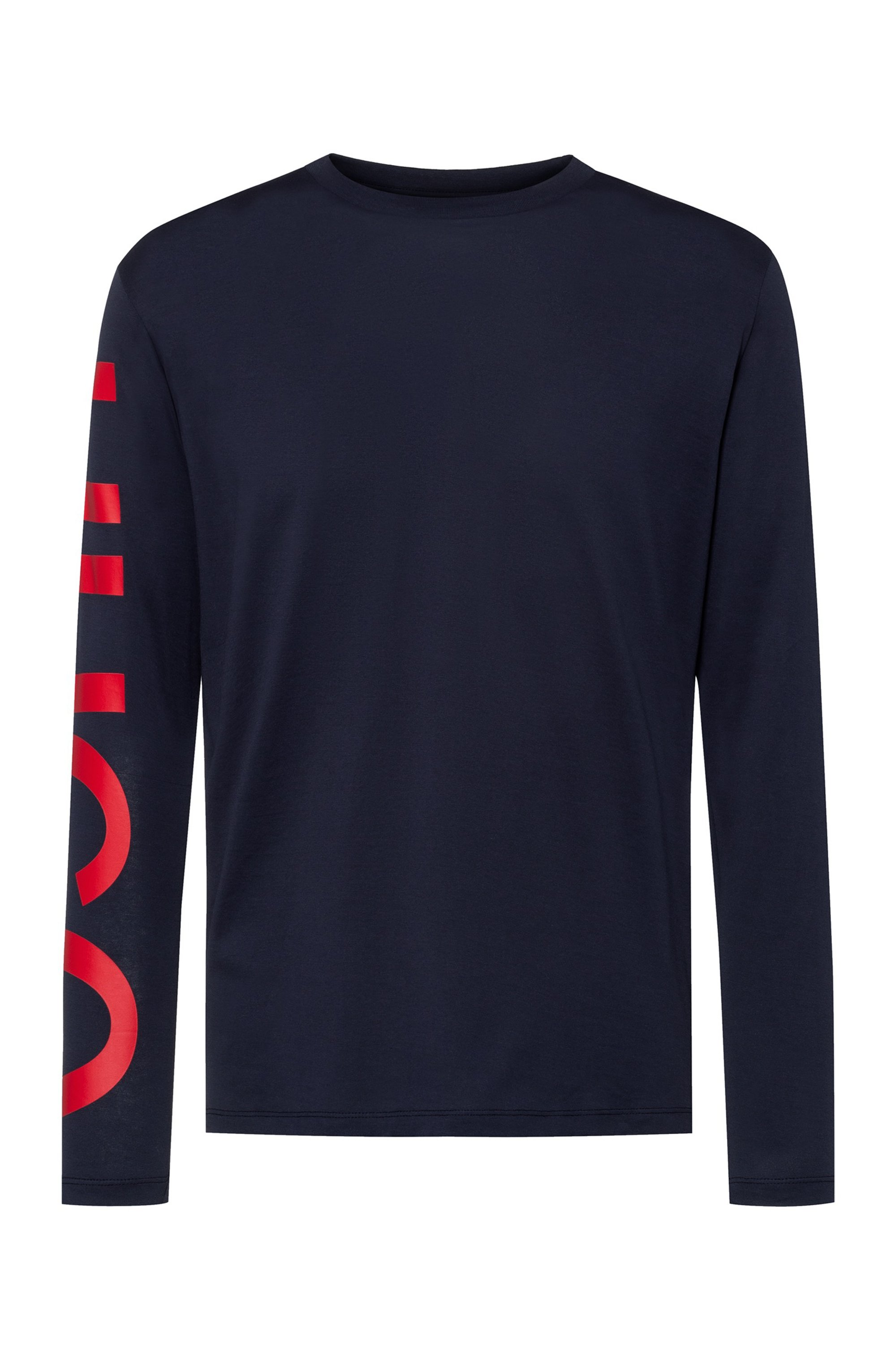 Relaxed-fit T-shirt in cotton with oversized sleeve logo , Dark Blue