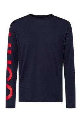 T-shirt Relaxed Fit en coton avec logo oversize sur la manche , Bleu foncé