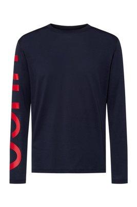 リラックスフィットTシャツ コットン オーバーサイズスリーブロゴ , ダークブルー