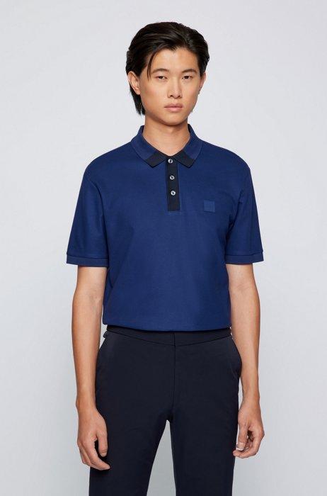 Mercerised-cotton-jacquard polo shirt with color-block collar, Dark Blue