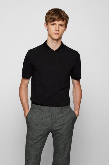 Slim-fit polo shirt with embroidered-monogram motif, Black