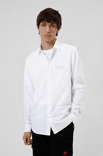 手写徽标装饰蛇形图案宽松衬衫,  199_Open White