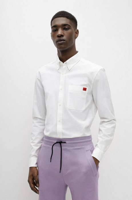 Slim-fit shirt in cotton with red logo label, White