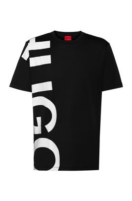 Regular-fit T-shirt in cotton jersey with cropped logo, Black