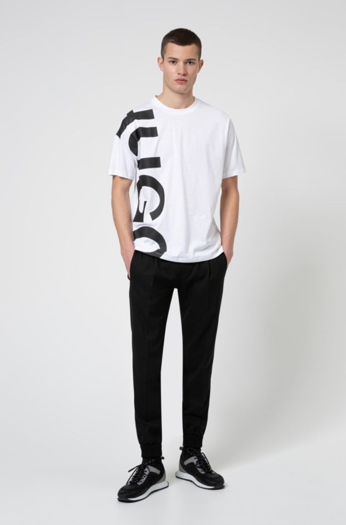 Regular-fit T-shirt in cotton jersey with cropped logo