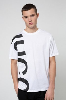 Regular-fit T-shirt in cotton jersey with cropped logo, White