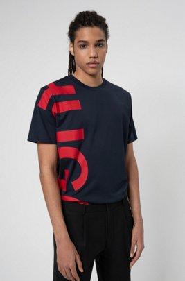 Regular-fit T-shirt in cotton jersey with cropped logo, Dark Blue