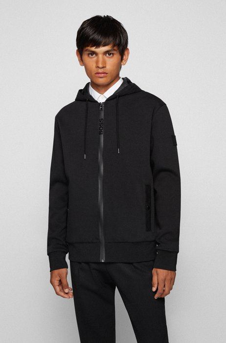 Cotton-blend hooded sweatshirt with logo zip, Black