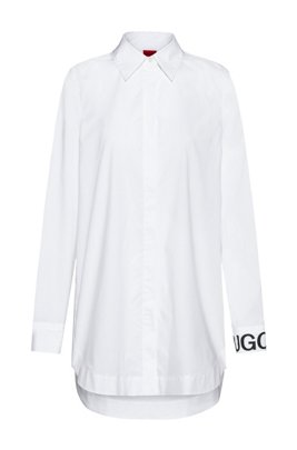 Oversized-fit blouse in stretch cotton with logo cuff, White