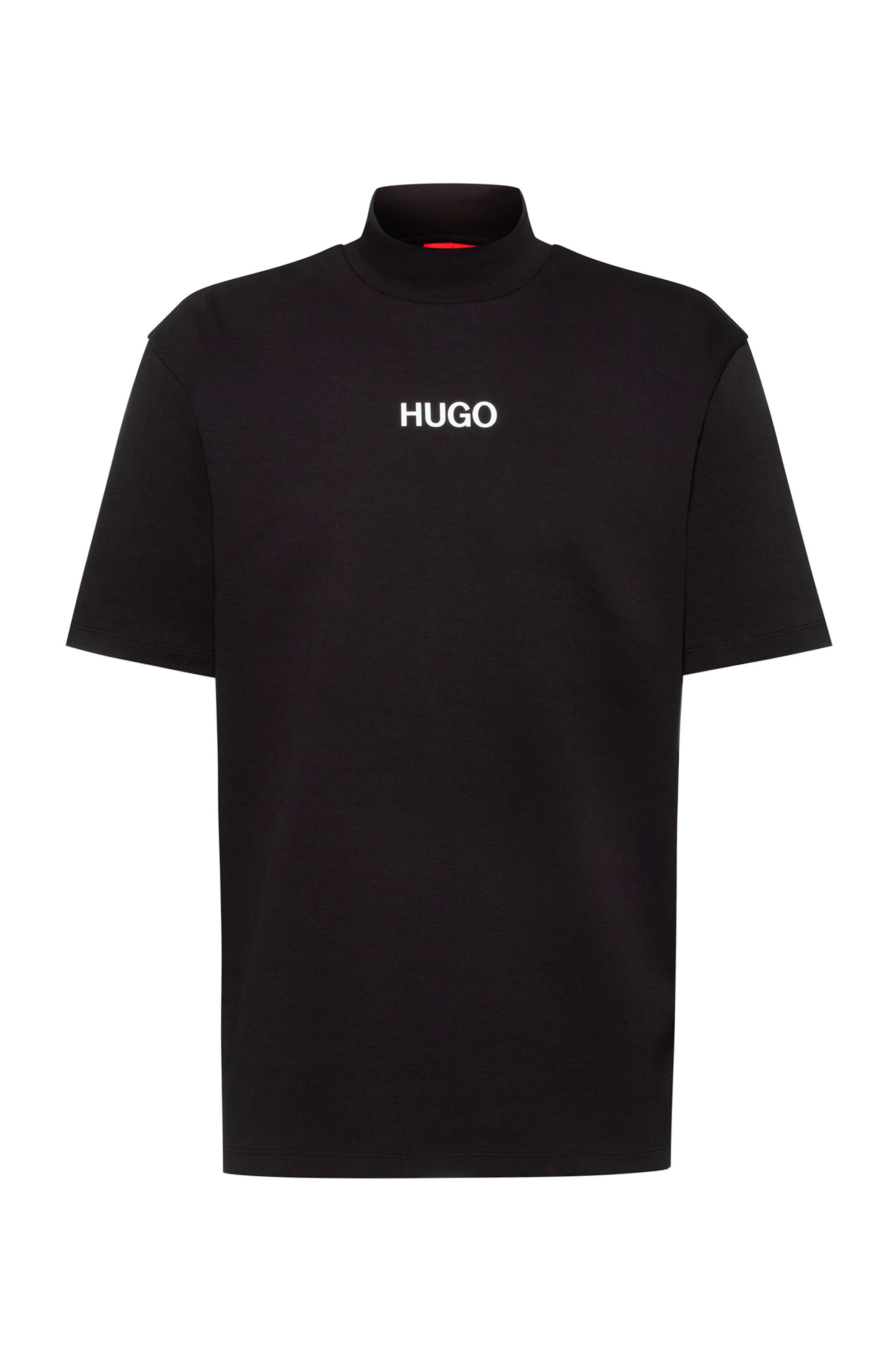 Relaxed-fit turtleneck T-shirt with printed logo, Black
