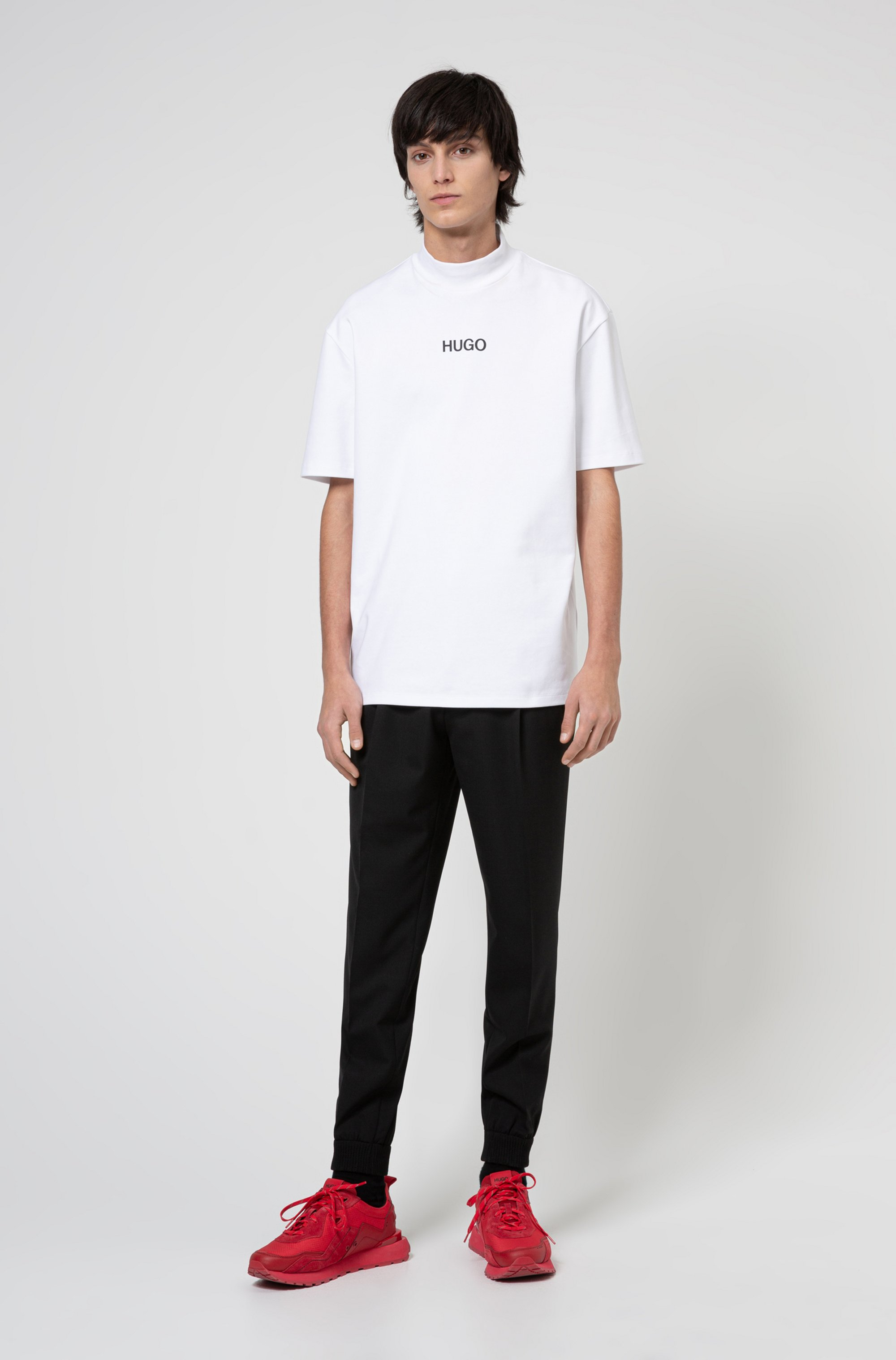 Relaxed-fit turtleneck T-shirt with printed logo