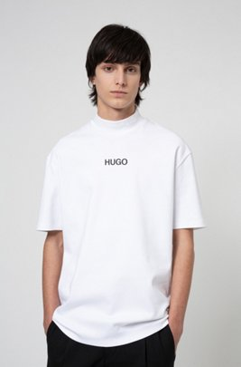 Relaxed-fit turtleneck T-shirt with printed logo, White