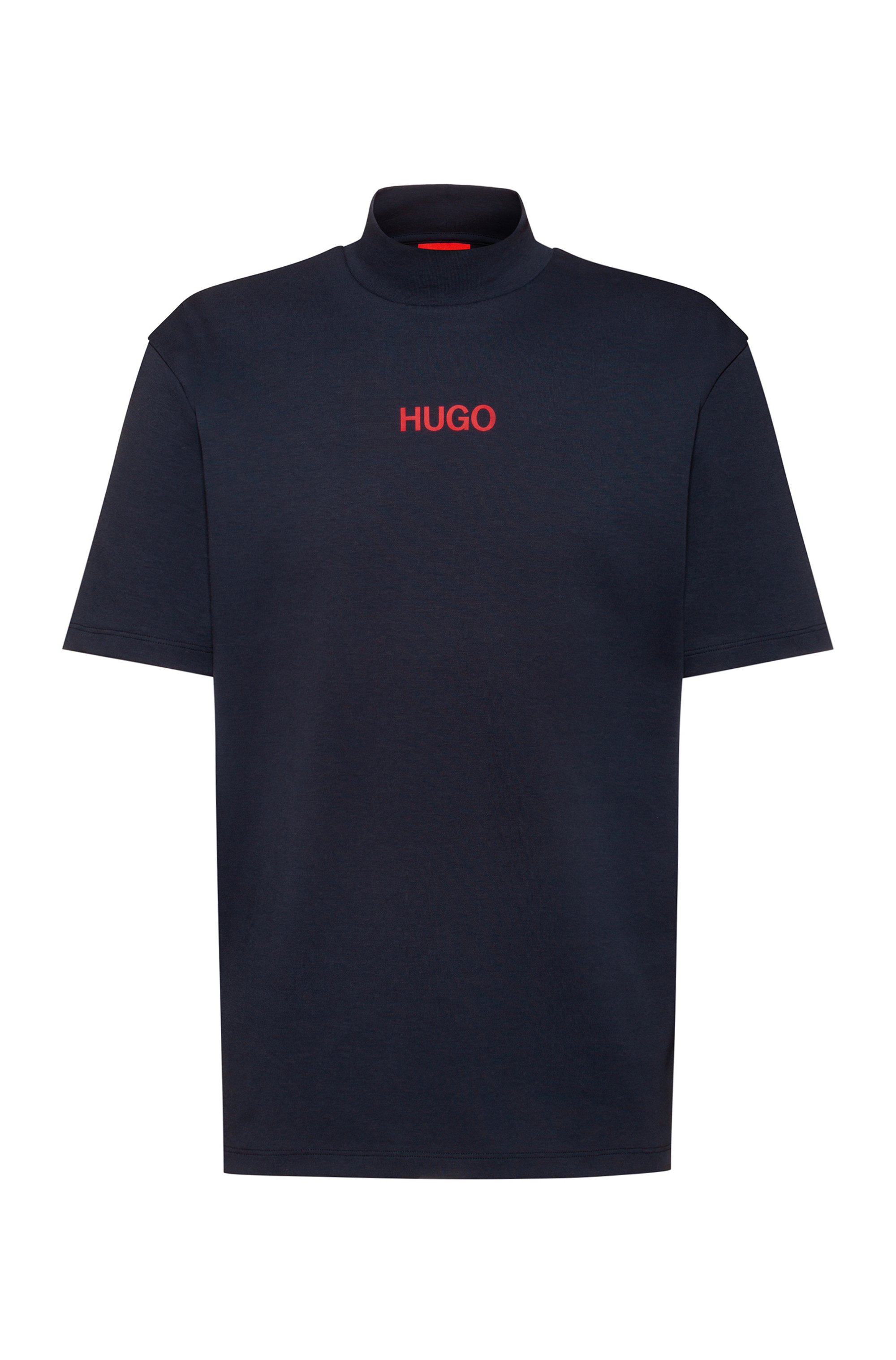 Relaxed-fit turtleneck T-shirt with printed logo, Dark Blue