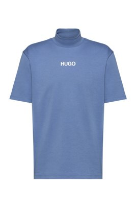 Relaxed-fit turtleneck T-shirt with printed logo, Light Blue