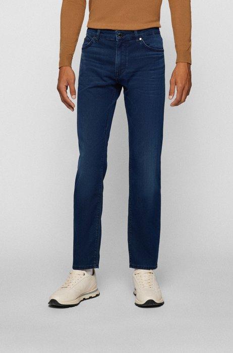 Regular-fit jeans in blue-black Italian denim, Dark Blue