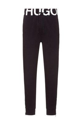 Interlock-cotton tracksuit bottoms with waistband logo, Black
