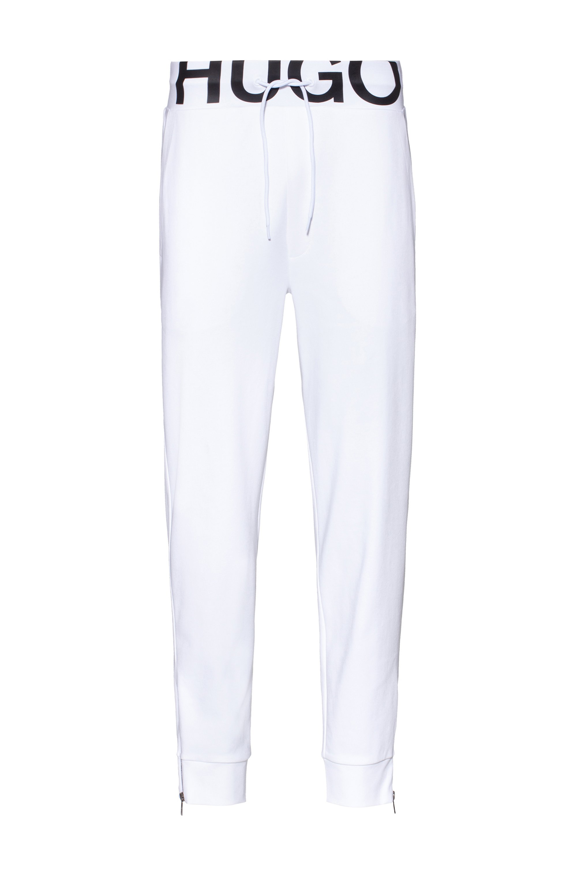 Interlock-cotton tracksuit bottoms with waistband logo, White