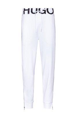 Interlock-cotton tracksuit bottoms with waistband logo, White