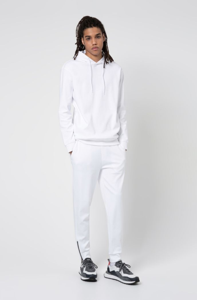Interlock-cotton tracksuit bottoms with waistband logo