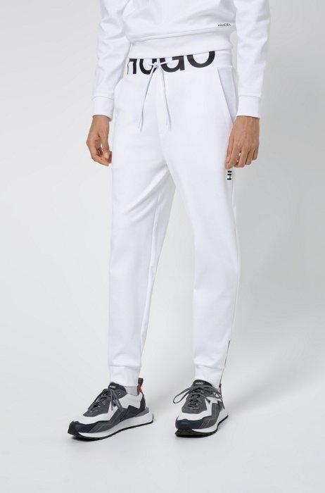Bas de survêtement en coton interlock avec logo à la taille, Blanc