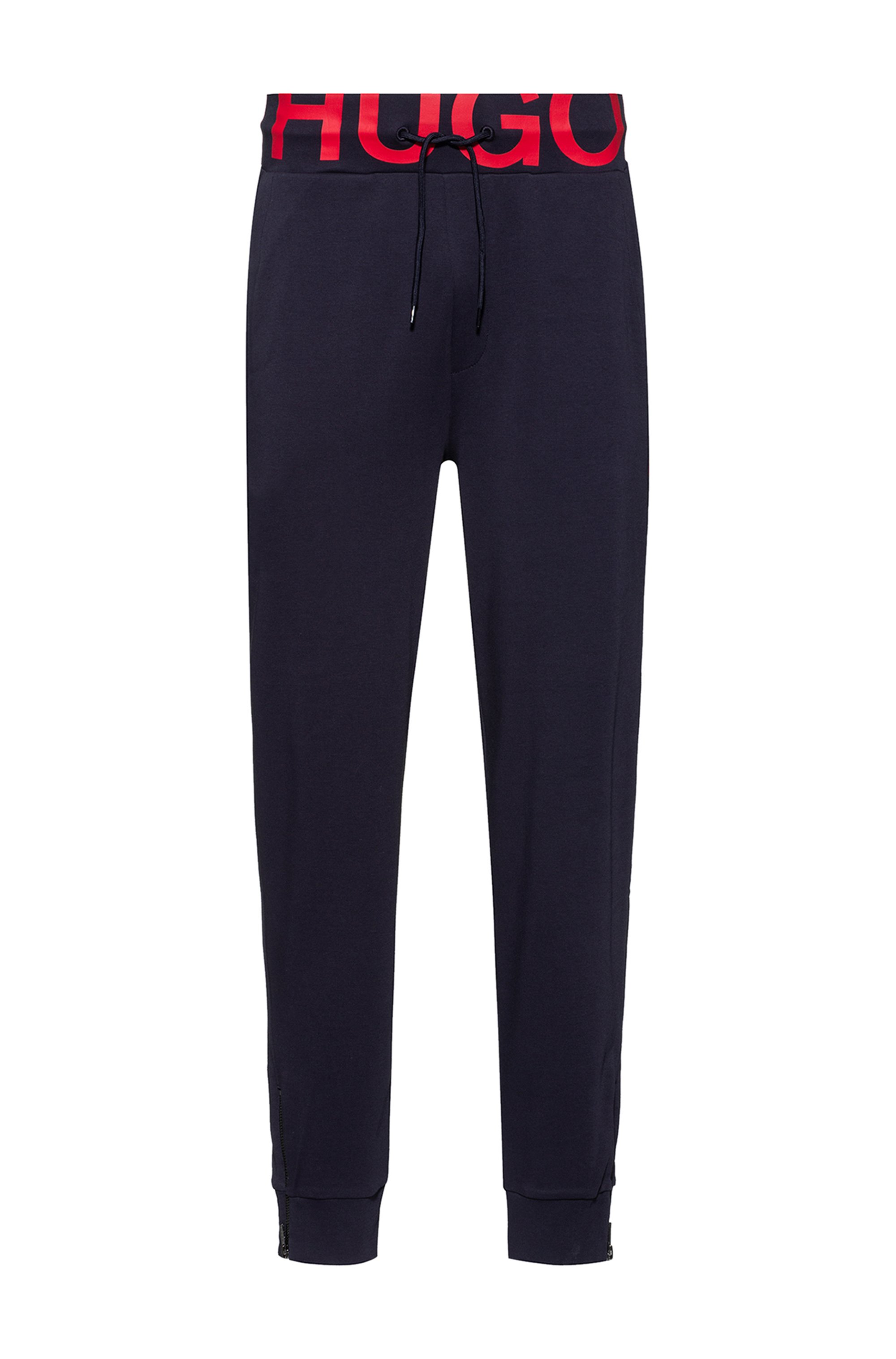 Interlock-cotton tracksuit bottoms with waistband logo, Dark Blue