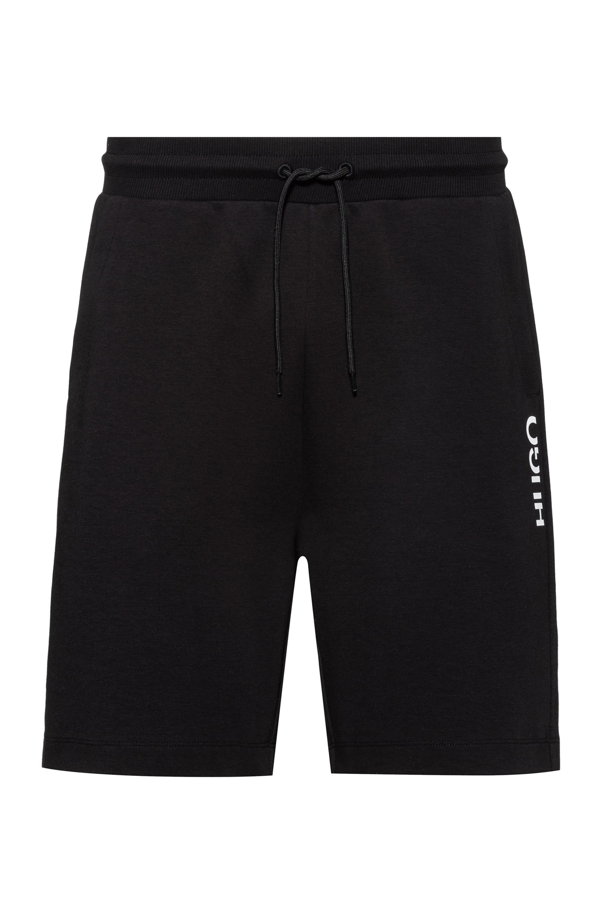 Regular-fit shorts in cotton with vertical cropped logo, Black