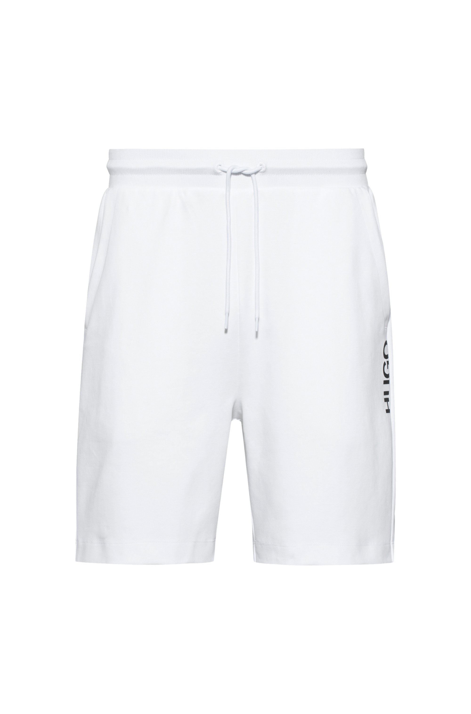 Regular-fit shorts in cotton with vertical cropped logo, White