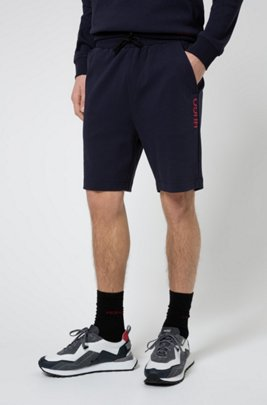 Regular-fit shorts in cotton with vertical cropped logo, Dark Blue