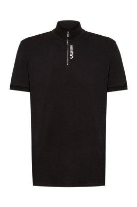 Poloshirt aus Stretch-Baumwolle mit Troyerkragen und abgeschnittenem Logo, Schwarz