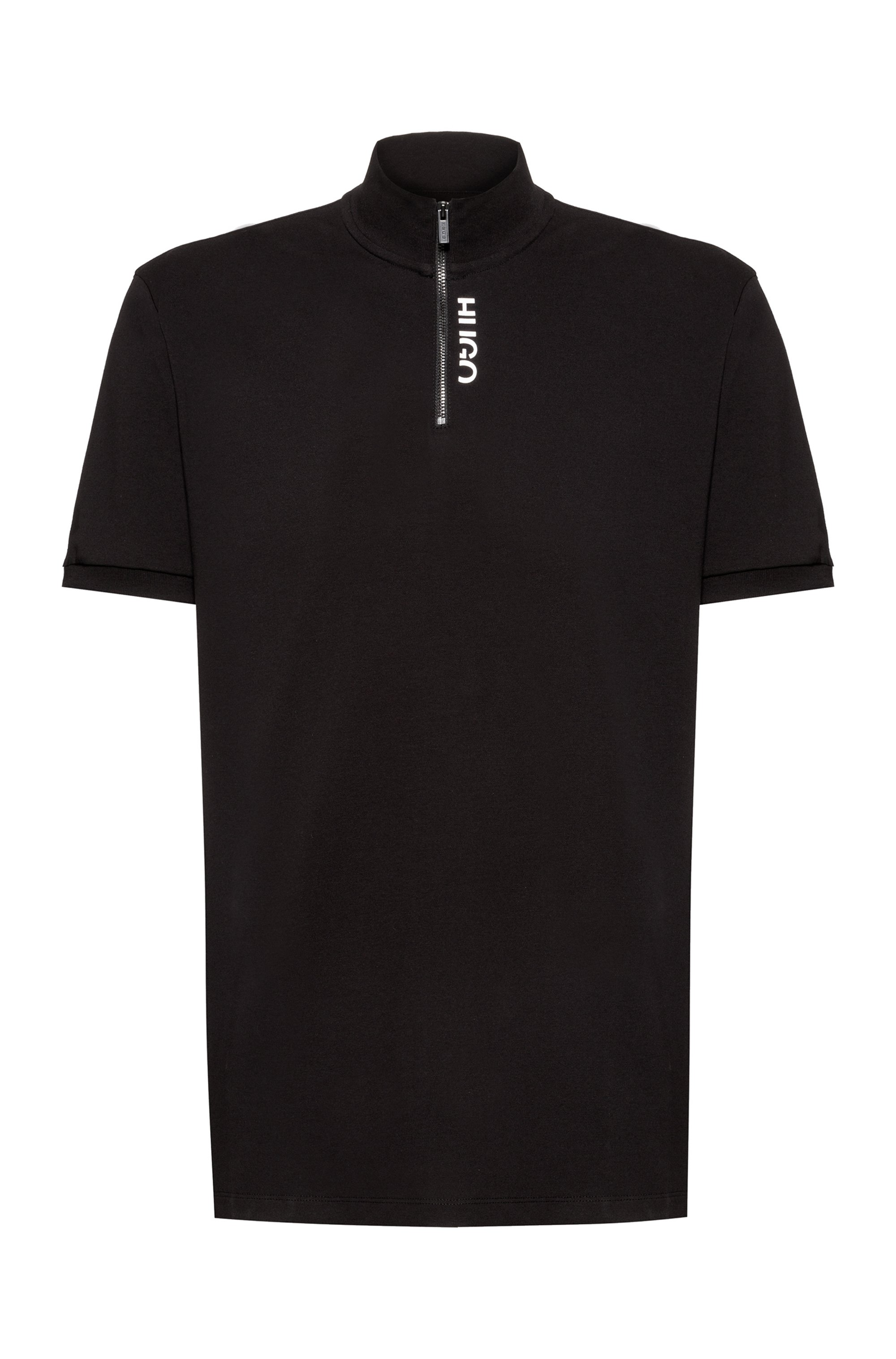 Zip-neck polo shirt in stretch-cotton with cropped logo, Black