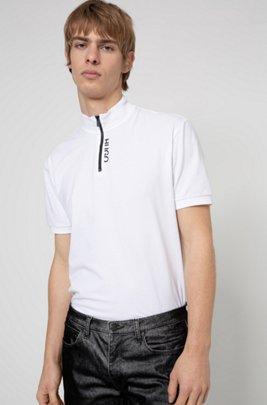 Poloshirt aus Stretch-Baumwolle mit Troyerkragen und abgeschnittenem Logo, Weiß