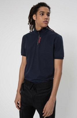 Polo en coton stretch avec encolure zippée et logo revisité, Bleu foncé