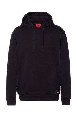 Relaxed-fit sweatshirt in cotton with cropped-logo hood, Black