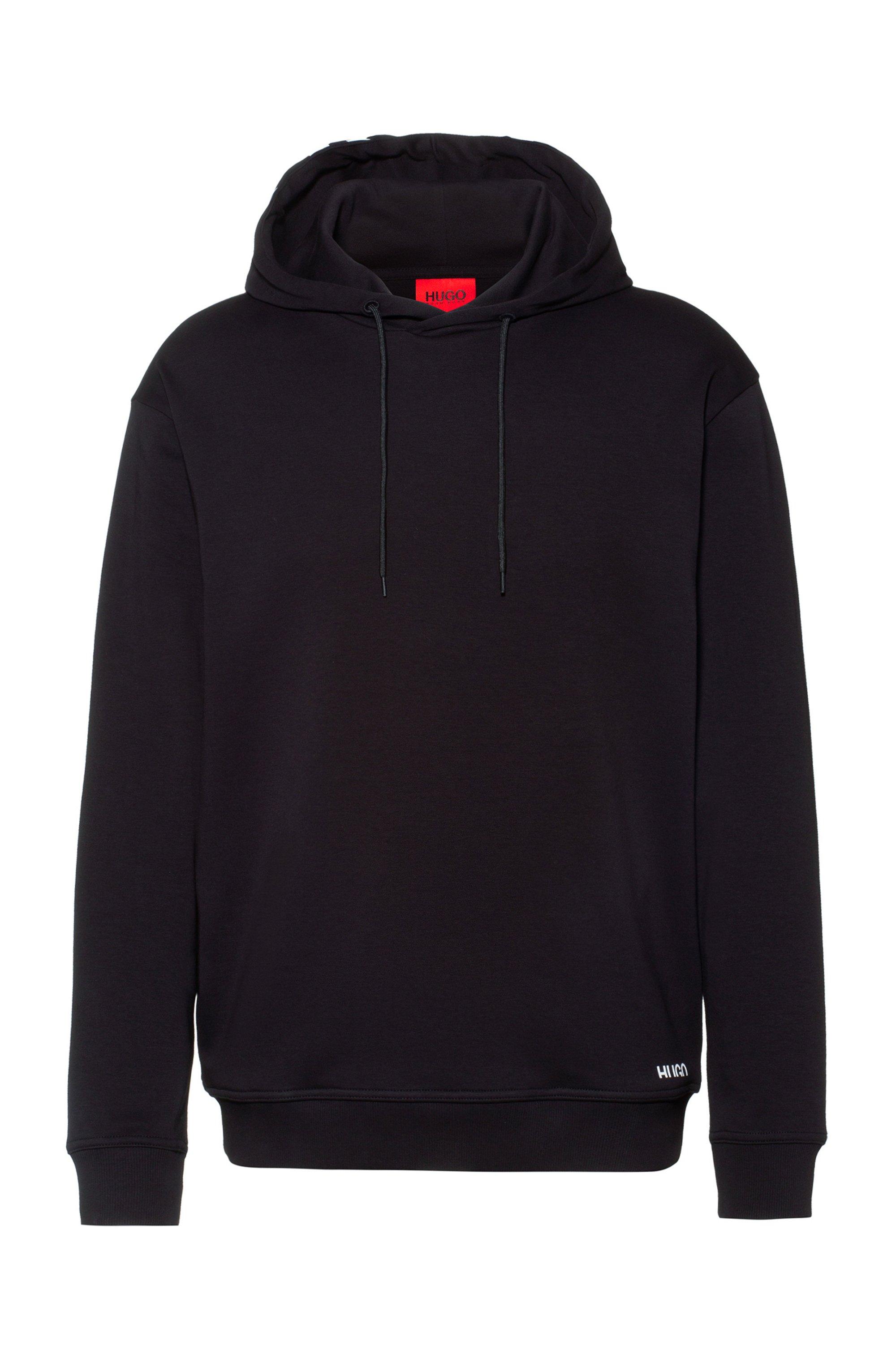 Sweat Relaxed Fit en coton avec capuche à logo revisité, Noir