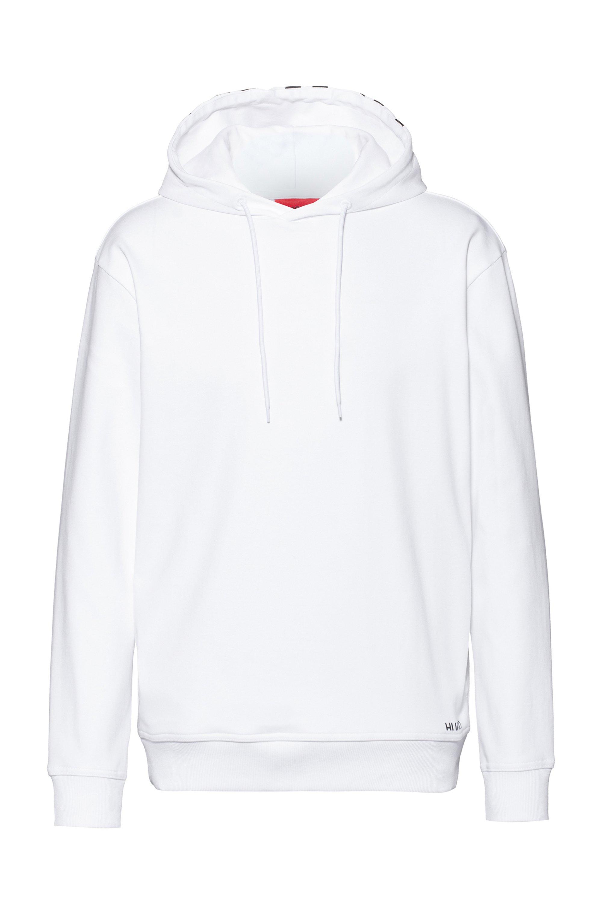 Sweat Relaxed Fit en coton avec capuche à logo revisité, Blanc