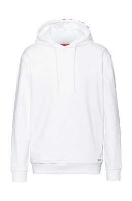 Sweat Relaxed Fit en coton avec capuche à logo revisité, Blanc