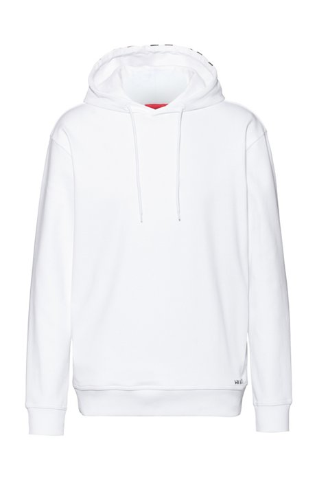 Relaxed-fit sweatshirt in cotton with cropped-logo hood, White
