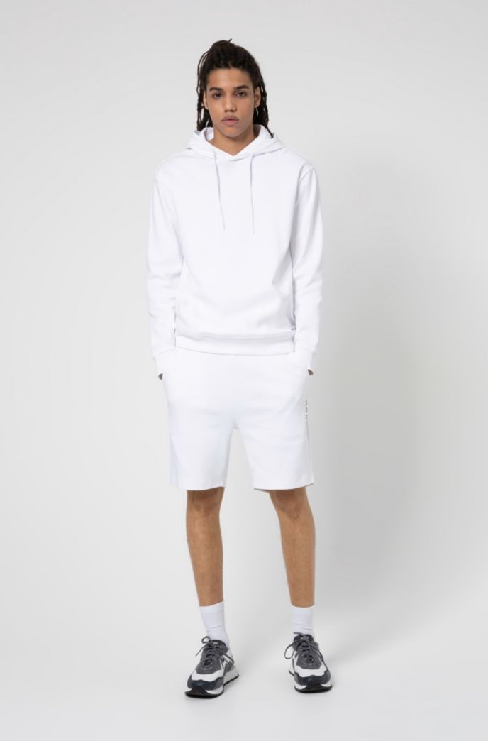 Relaxed-fit sweatshirt in cotton with cropped-logo hood
