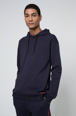 Relaxed-fit sweatshirt in cotton with cropped-logo hood, Dark Blue