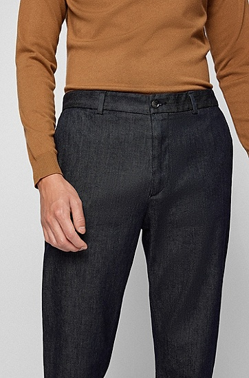深蓝色舒适弹力宽松牛仔裤,  412_Navy