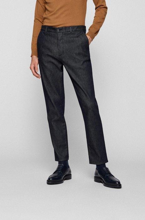 Relaxed-fit jeans in dark-blue comfort-stretch denim, Dark Blue