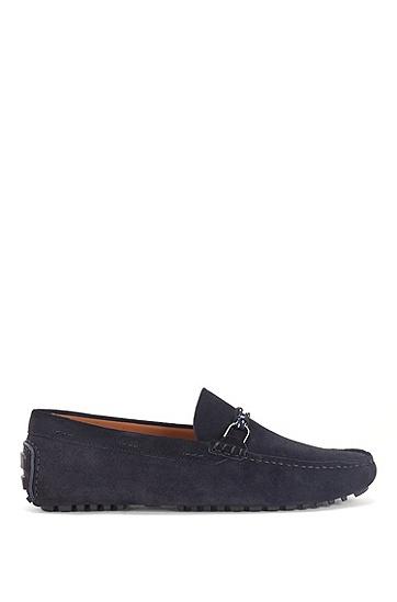 搭配当季鞋绳和硬件细节的麂皮莫卡辛鞋,  401_Dark Blue