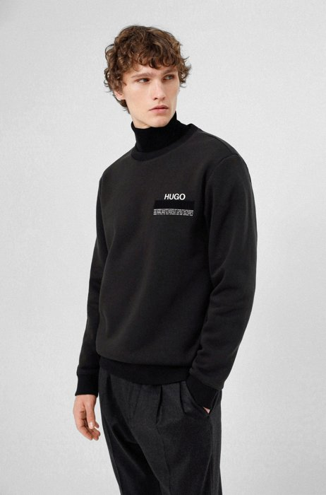 Sweatshirt aus Bio-Baumwolle mit recycelten Garnen und Manifesto-Logo, Schwarz