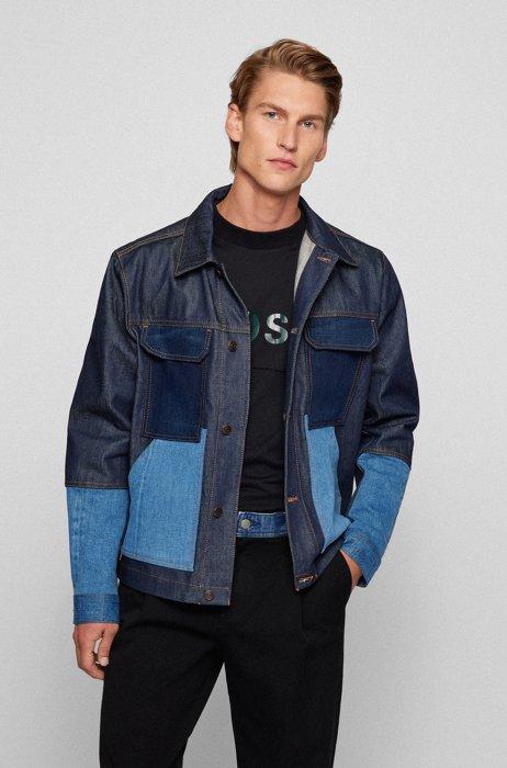 Regular-fit jas van katoendenim in patchworklook, Donkerblauw