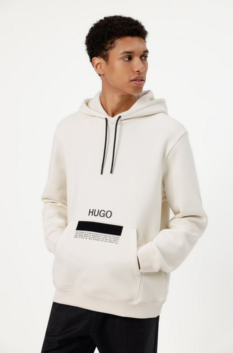 Manifesto-logo hoodie in organic cotton with recycled yarns, White