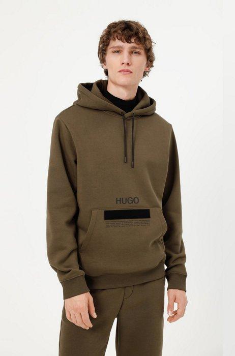 Manifesto-logo hoodie in organic cotton with recycled yarns, Dark Green