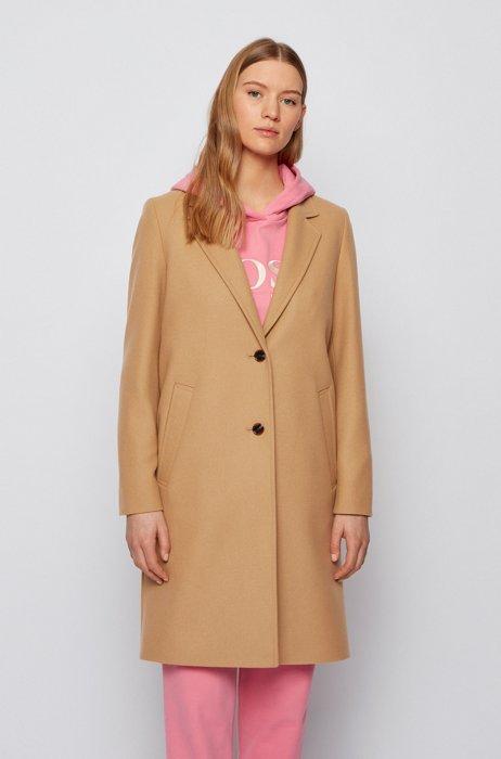Button-through formal coat in a virgin-wool blend, Light Brown