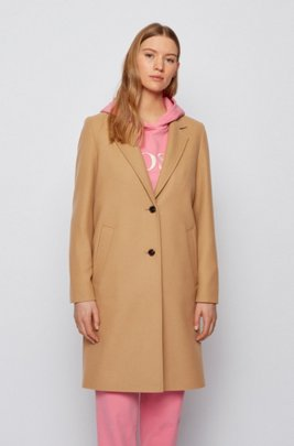Button-through formal coat in a virgin-wool blend, Light Brown