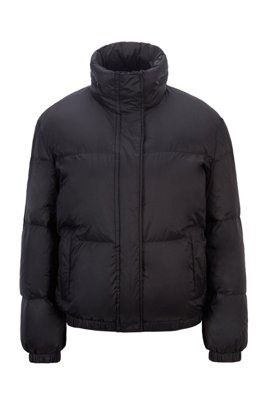 Water-repellent down jacket with matte finish, Black
