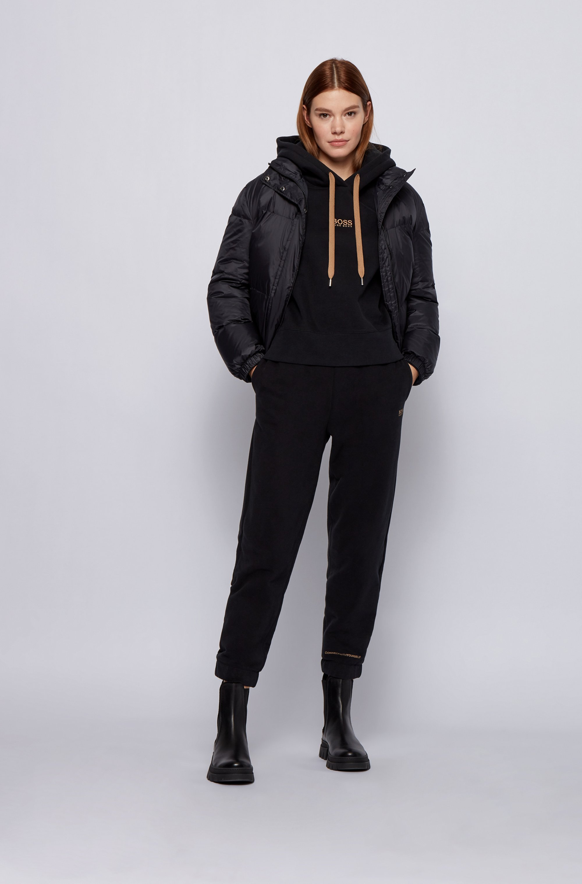 Water-repellent down jacket with matte finish